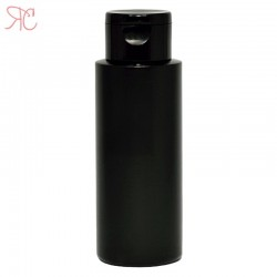 Black plastic bottle with flip-top cap, 150 ml